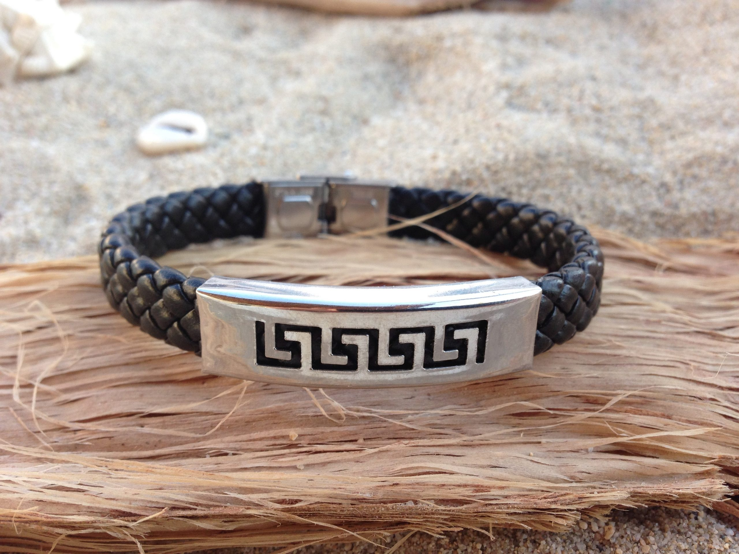 Greek key faux leather bracelet