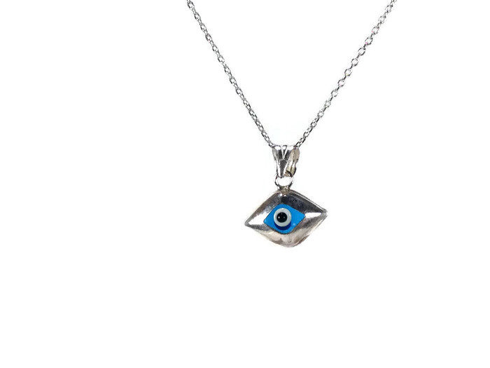 evil eye charm necklace sterling silver