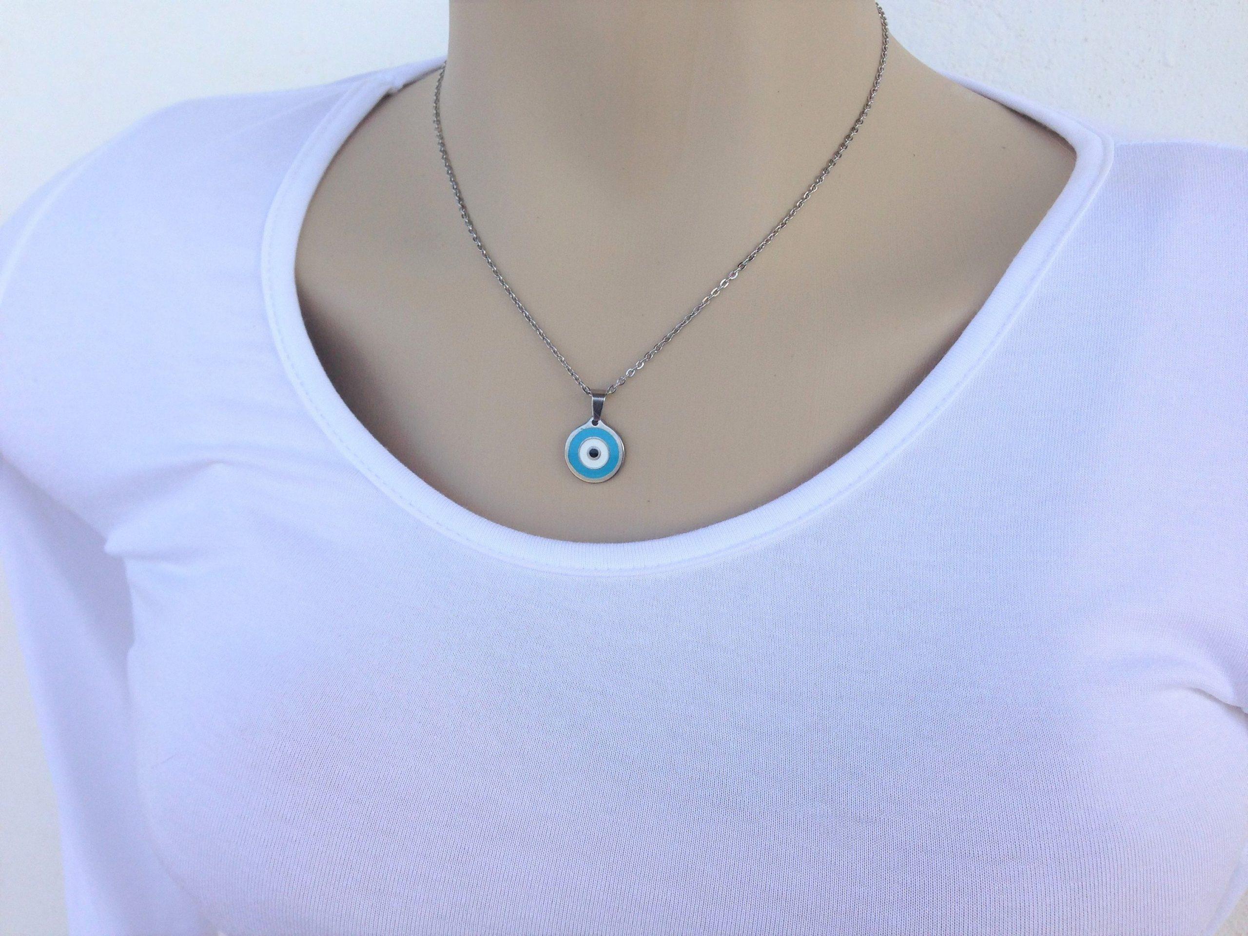 evil eye enamel pendant necklace