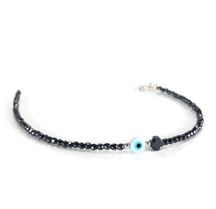 silver hematite evil eye bracelet