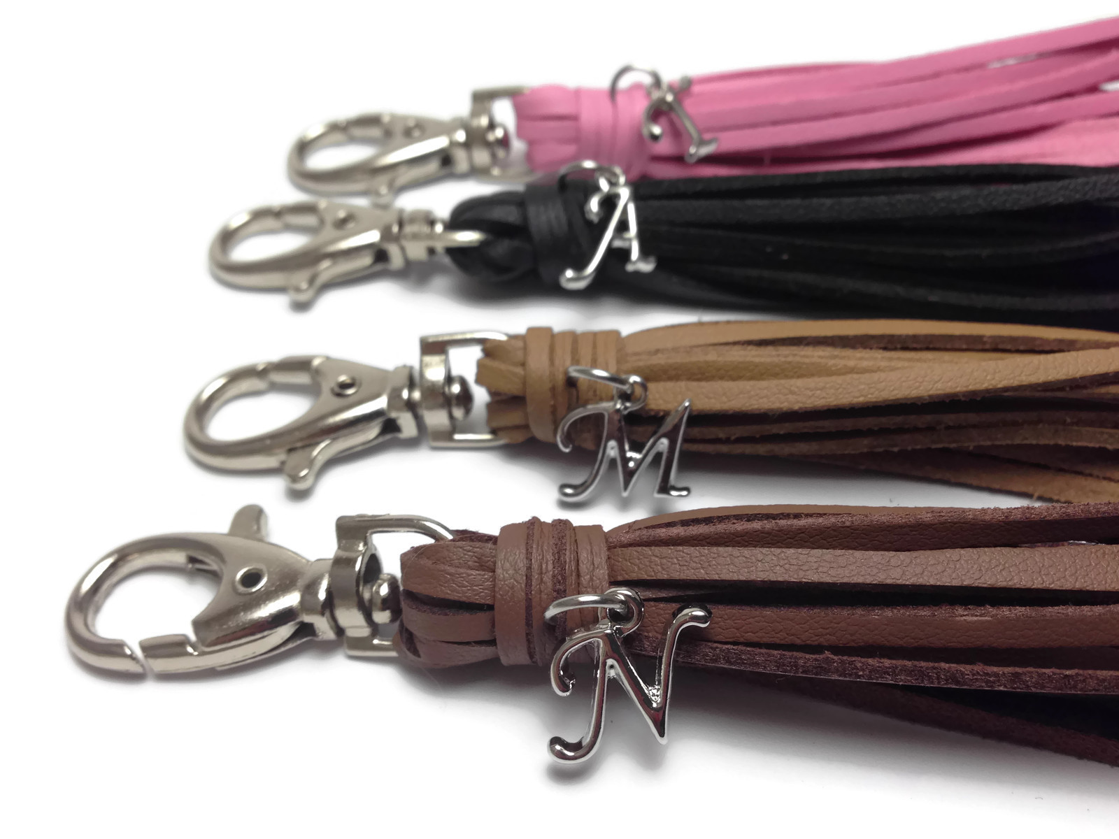 Personalized leather tassel keychain