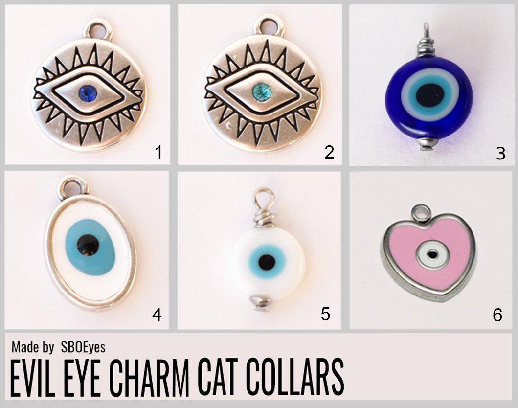 evil eye cat collar charms
