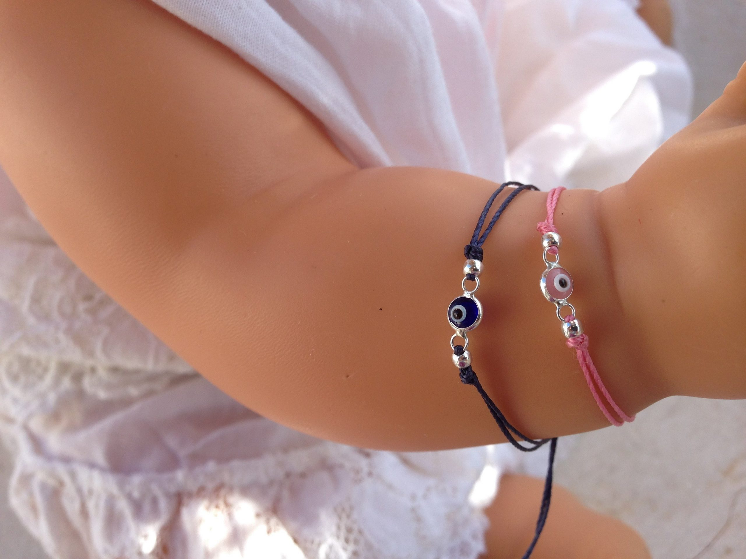sterling silver evil eye baby bracelet
