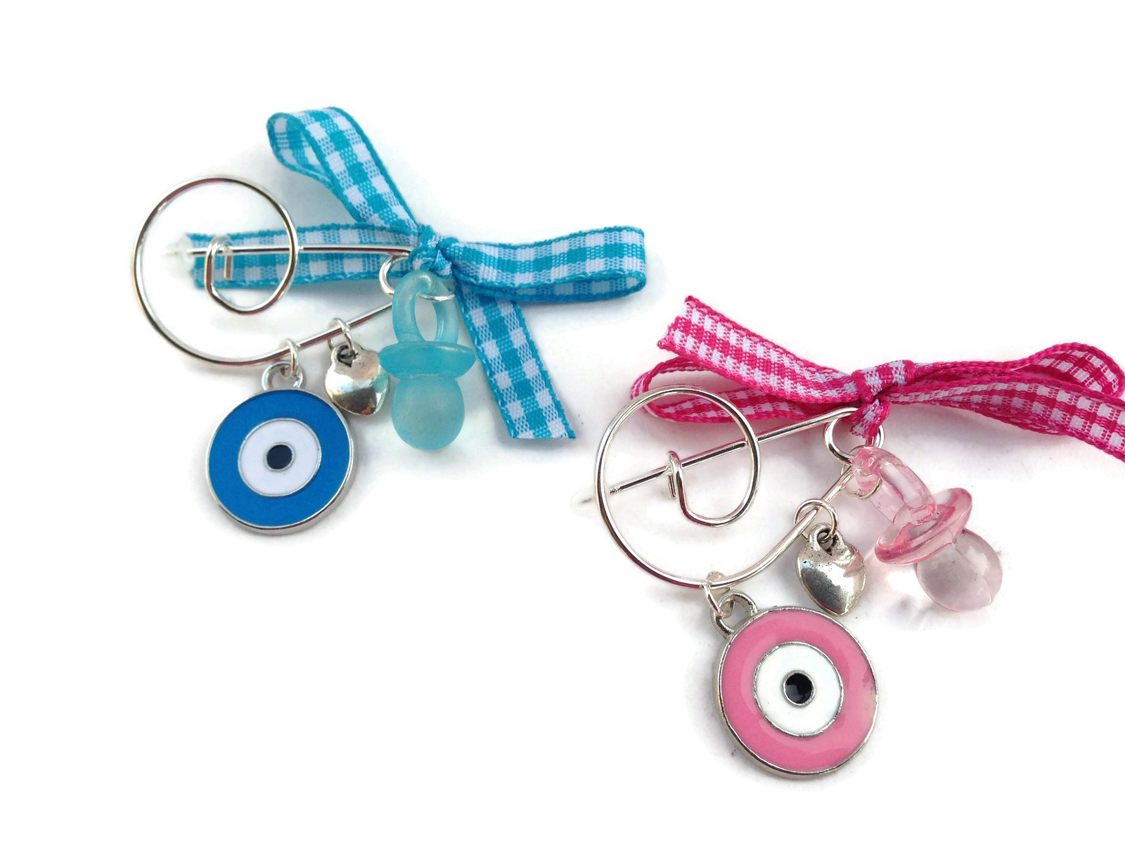 evil eye pacifier charm safety pin