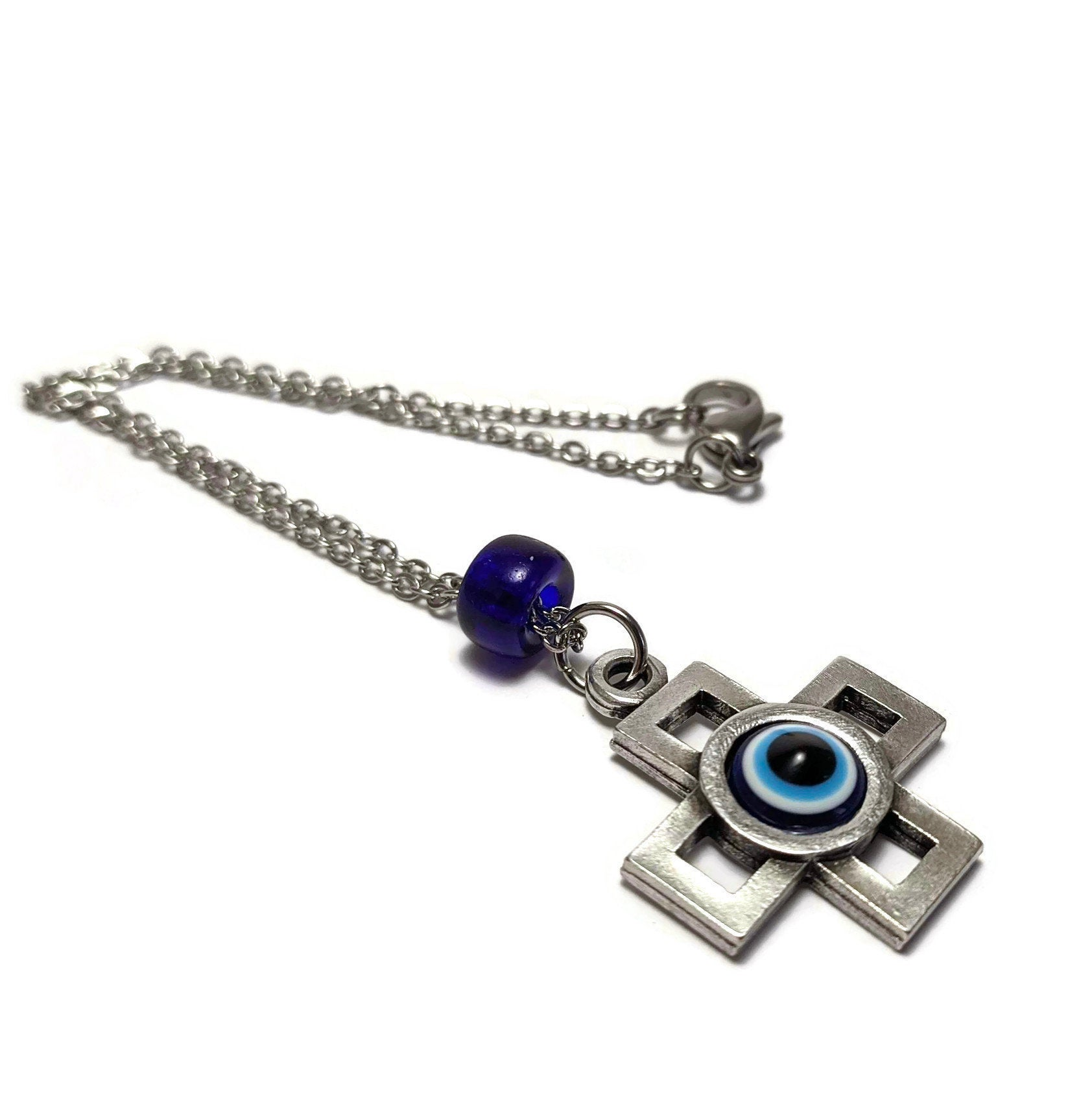 Evil eye cross mirror charm