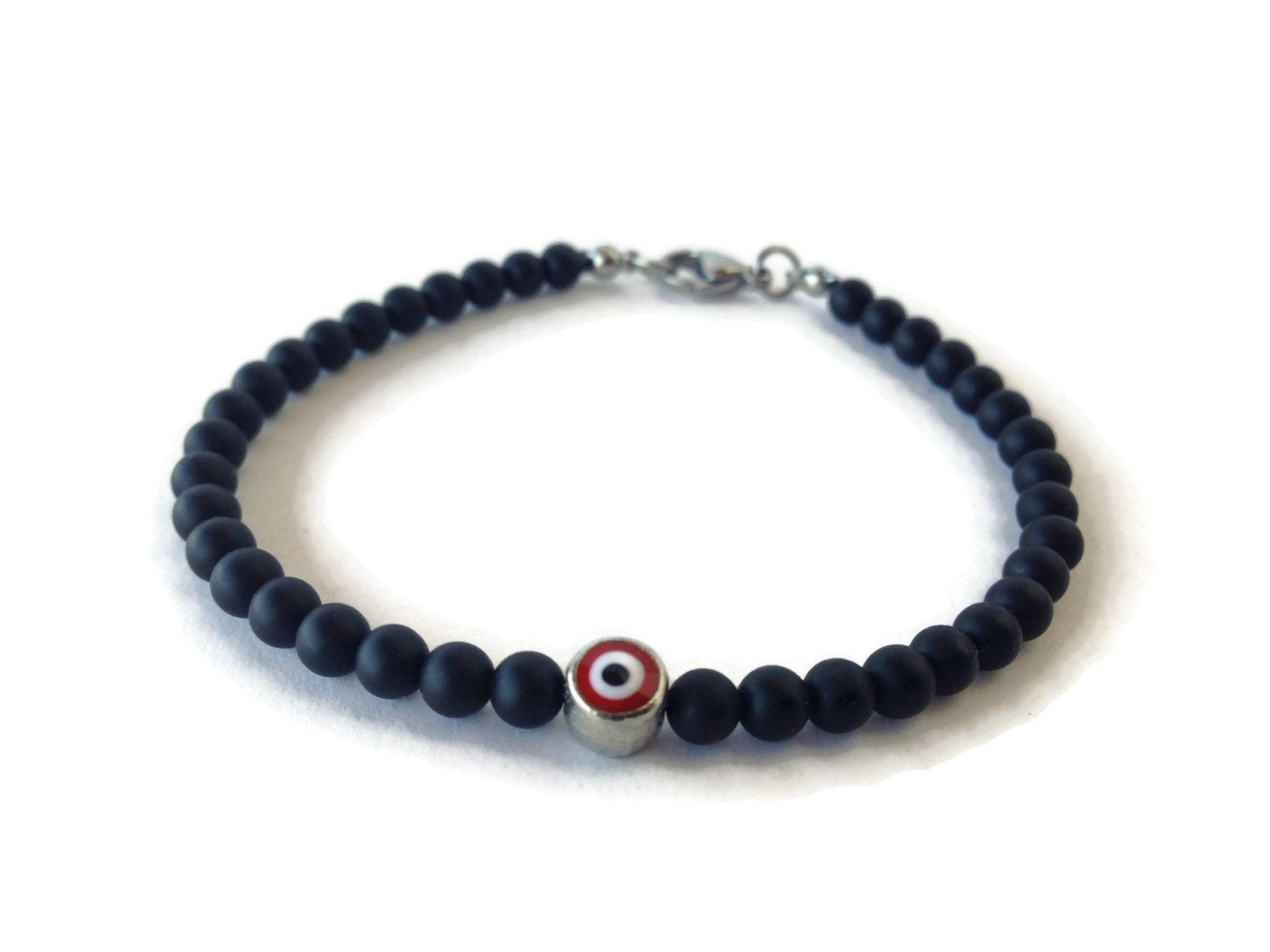 red evil eye mens bracelet