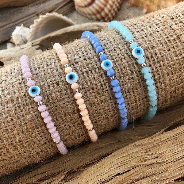 Pastel evil eye beaded bracelet