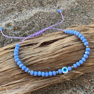 blue lavender evil eye bracelet