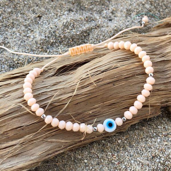 peach evil eye bracelet