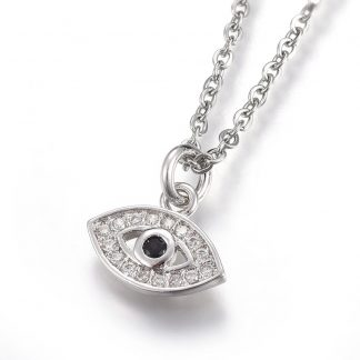 Black evil eye pendant necklace