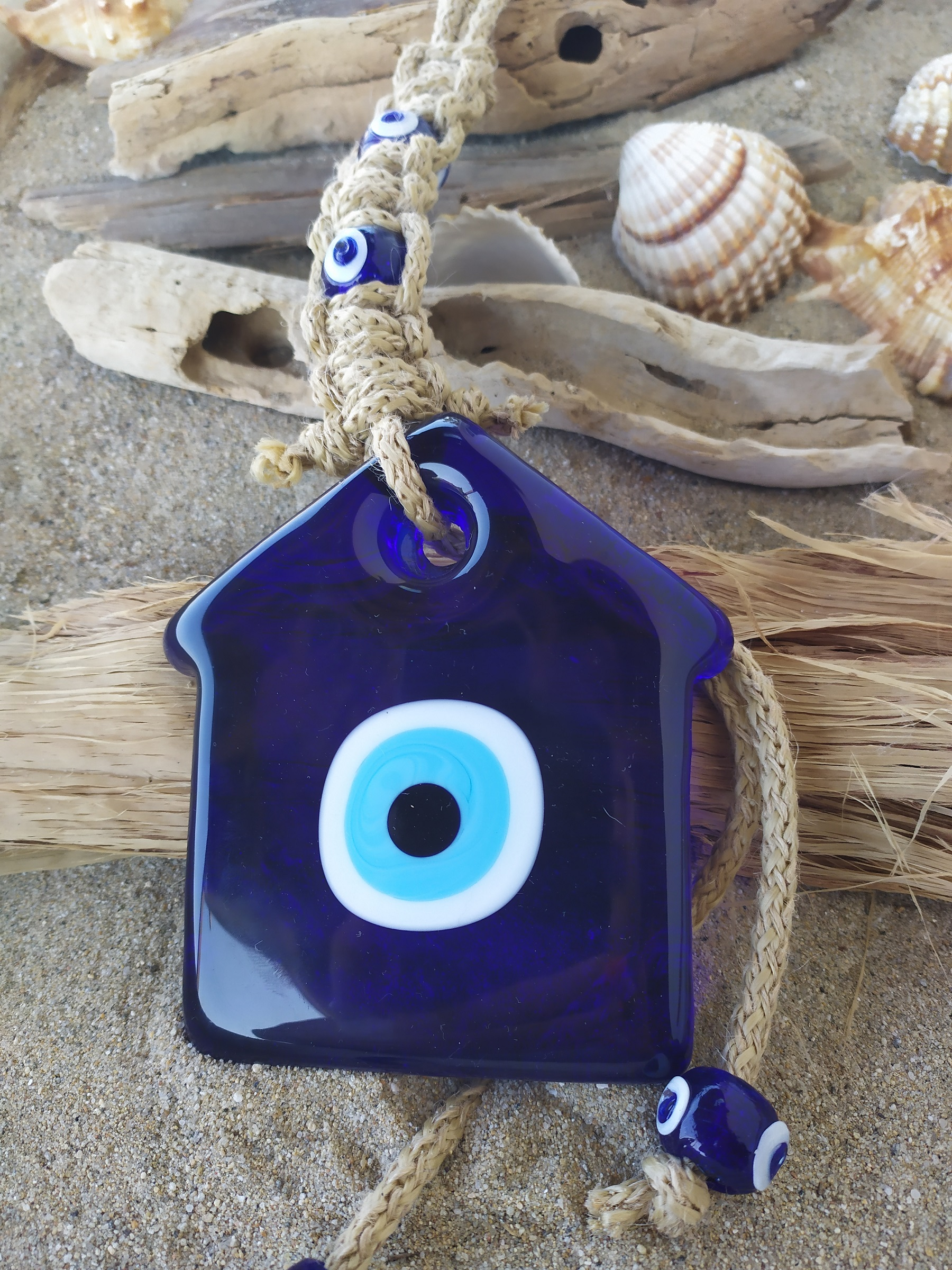 glass evil eye-house pendant
