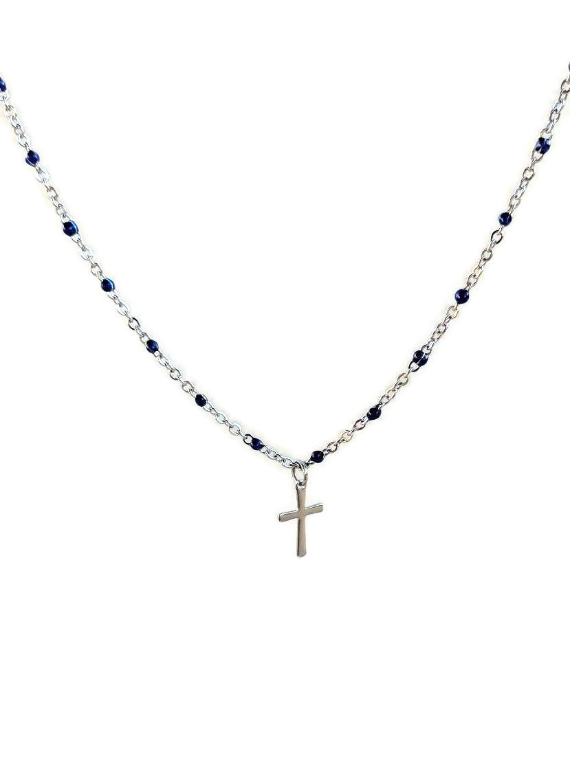 cross necklace on enamel chain