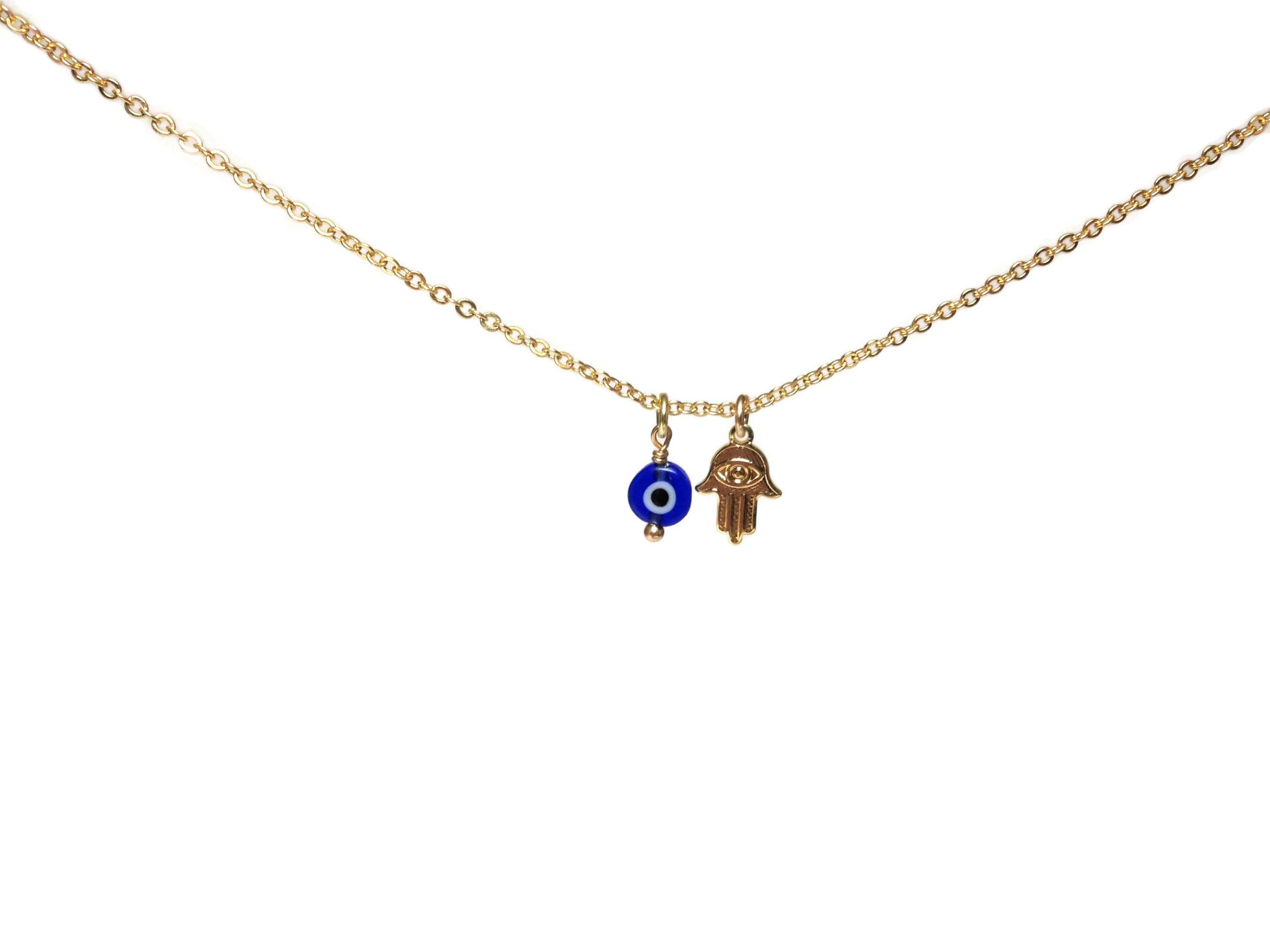 evil eye hamsa gold filled necklace