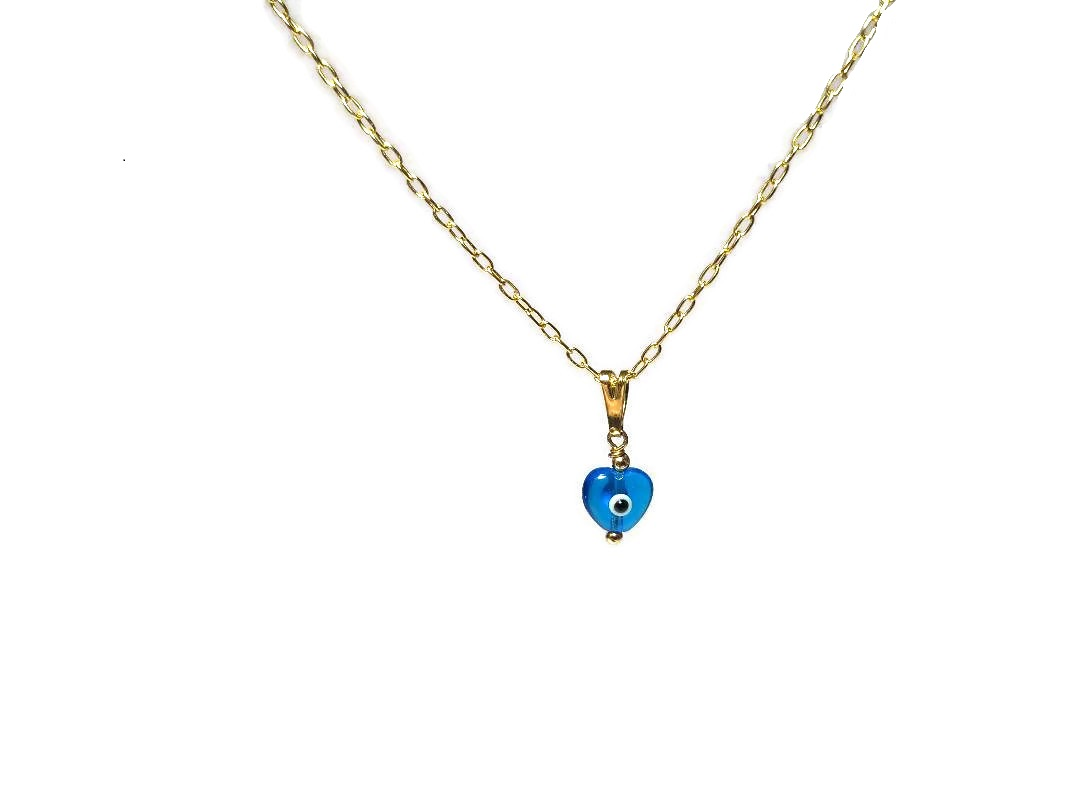 evil eye necklace for her in gold filled