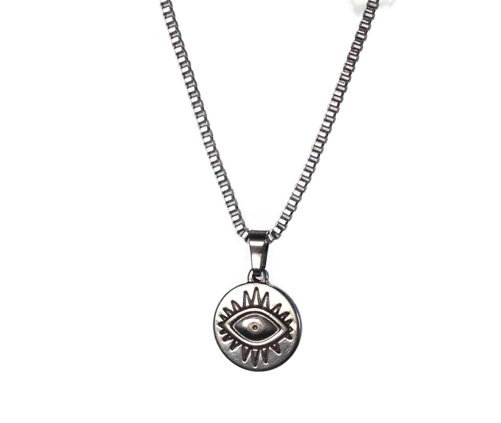 Men evil eye stainless steel necklace