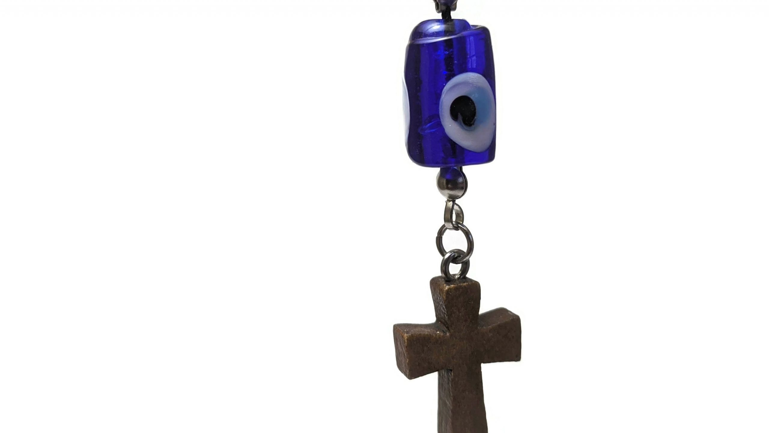 Cross evil eye rearview charm
