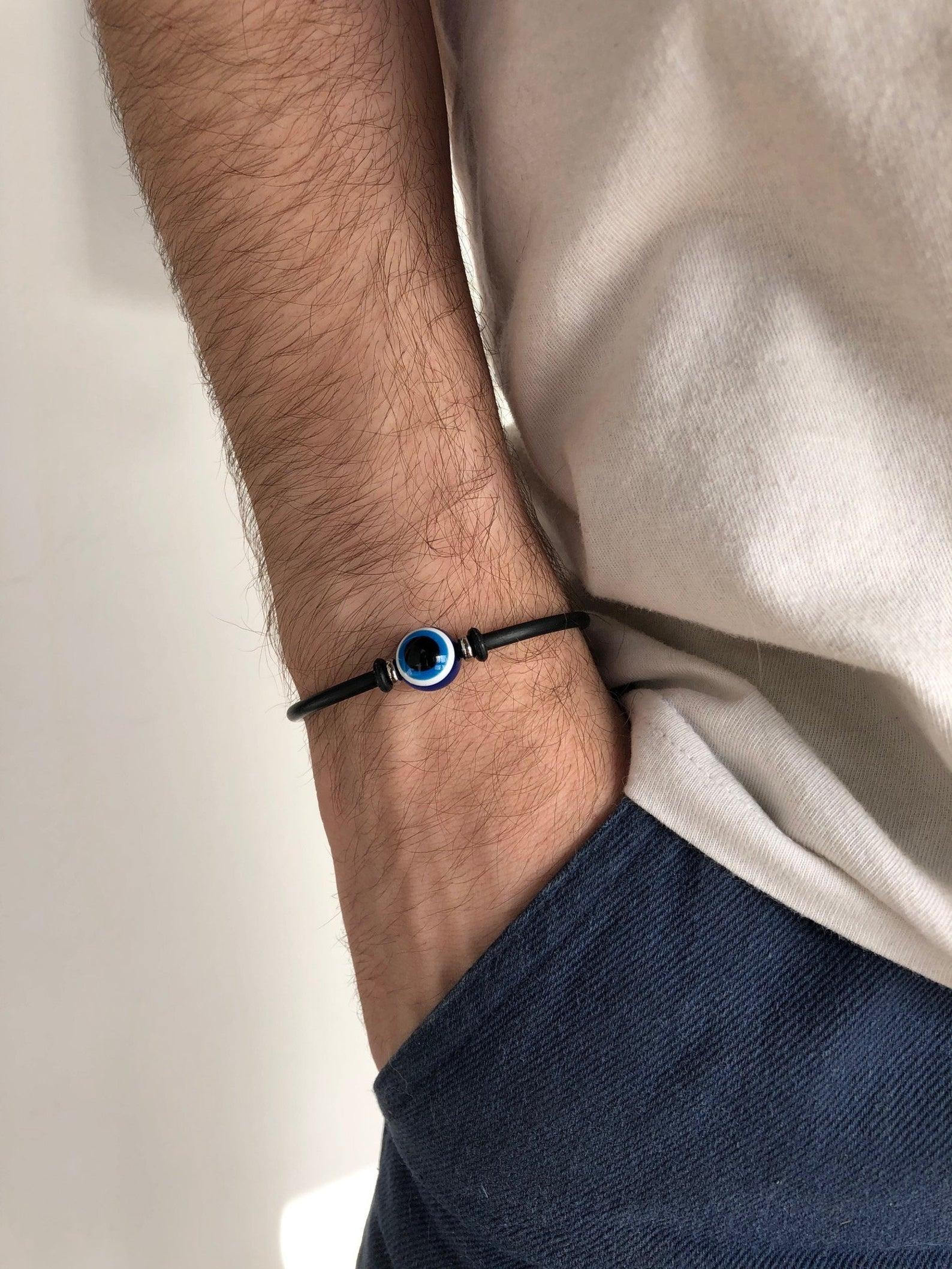 Rubber evil eye bracelet