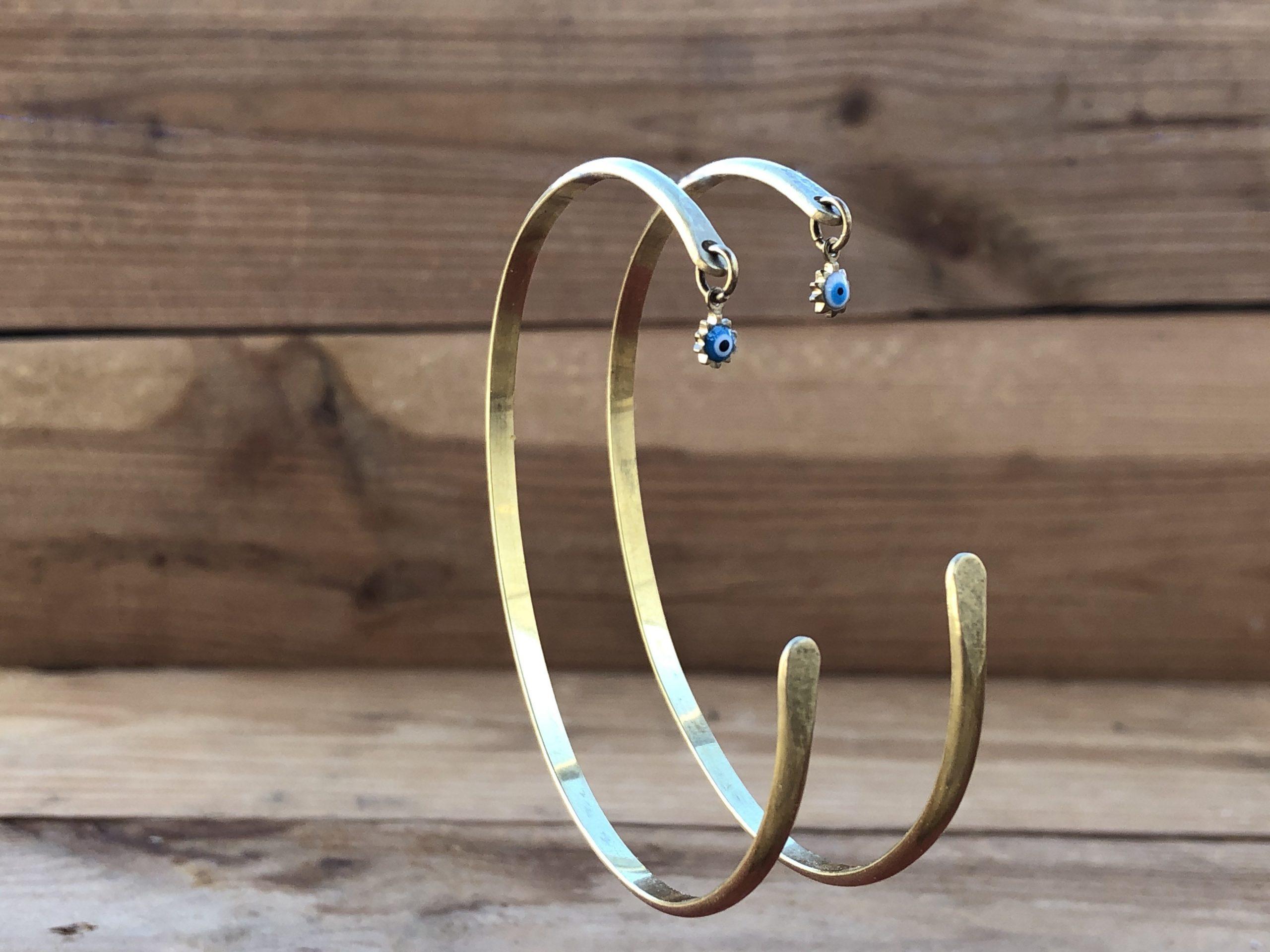 Brass evil eye bracelet