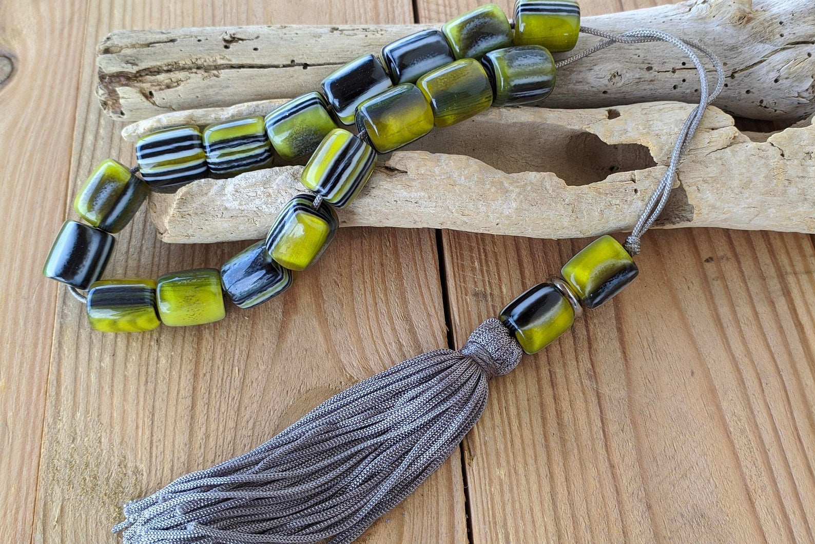 tassel green worry beads