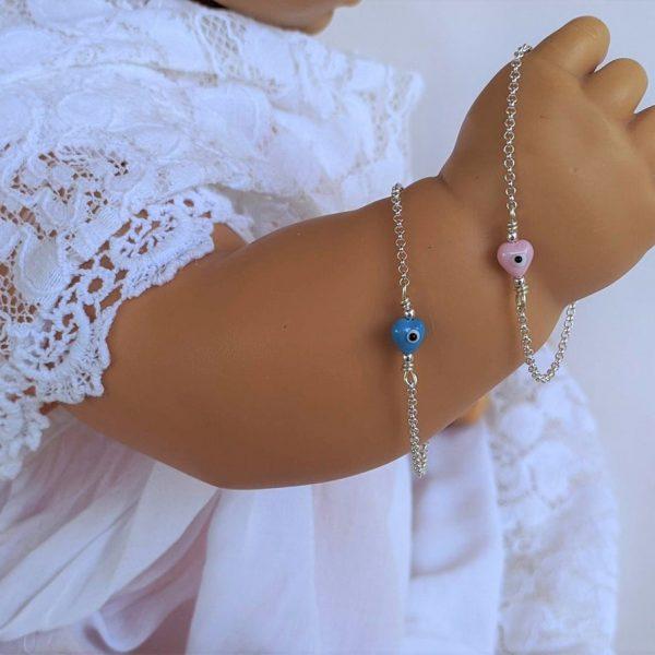 Gold Bracelet,Evil Eye Bracelet,Baby Jewelry,Gold Cross,Evil Eye,Crown,Baby gift,Heart,Newborn gift,Chain Bracelet,Baptism Gift,Birtday Gift