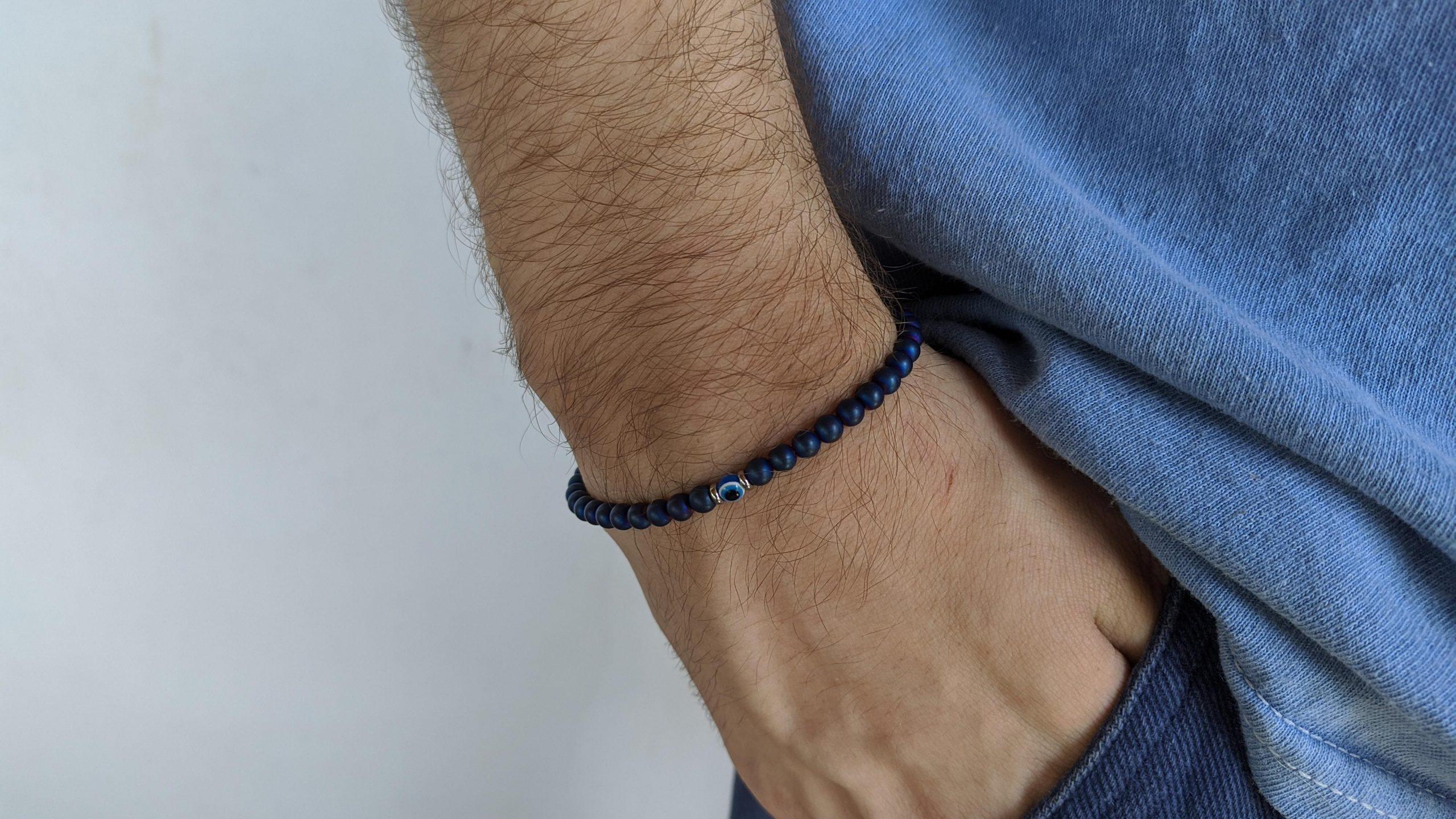 Men's hematite evil eye bracelet