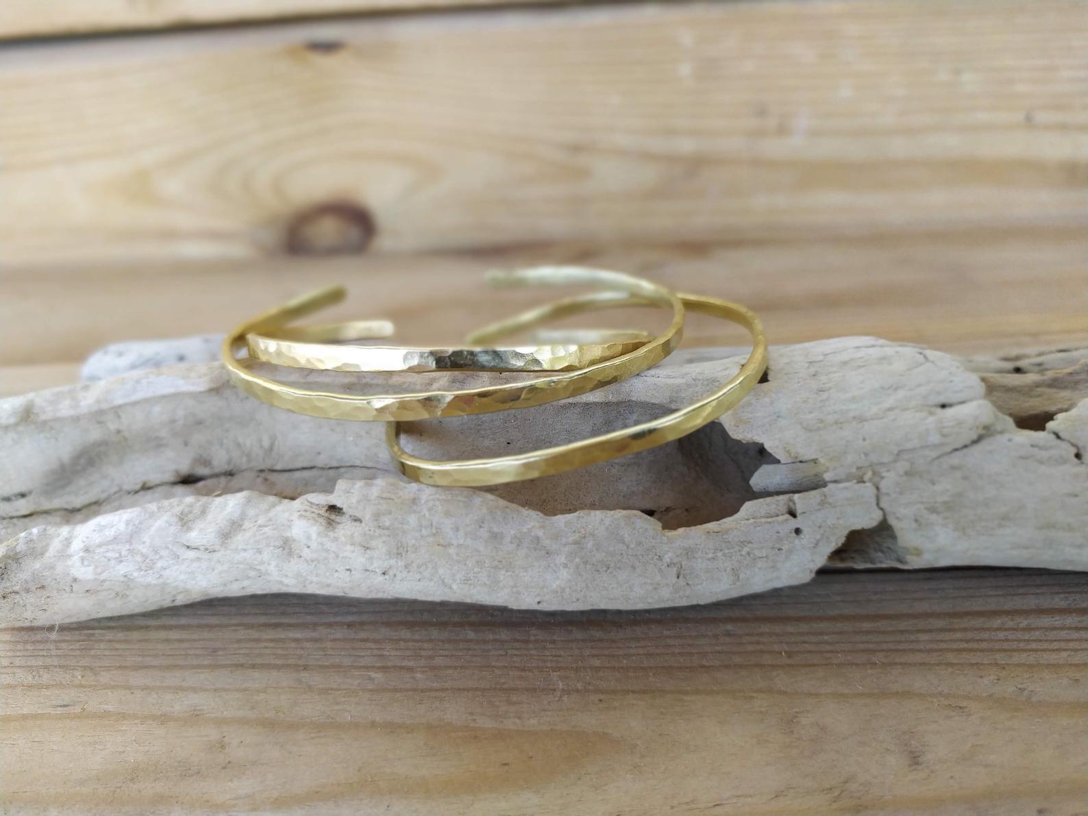 Brass hammered bracelet