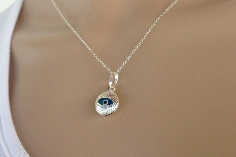 silver evil eye pendant
