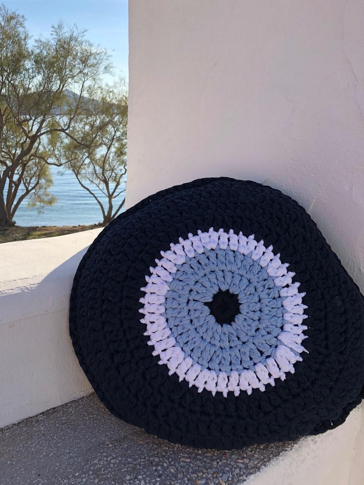 Dark blue evil eye cushions