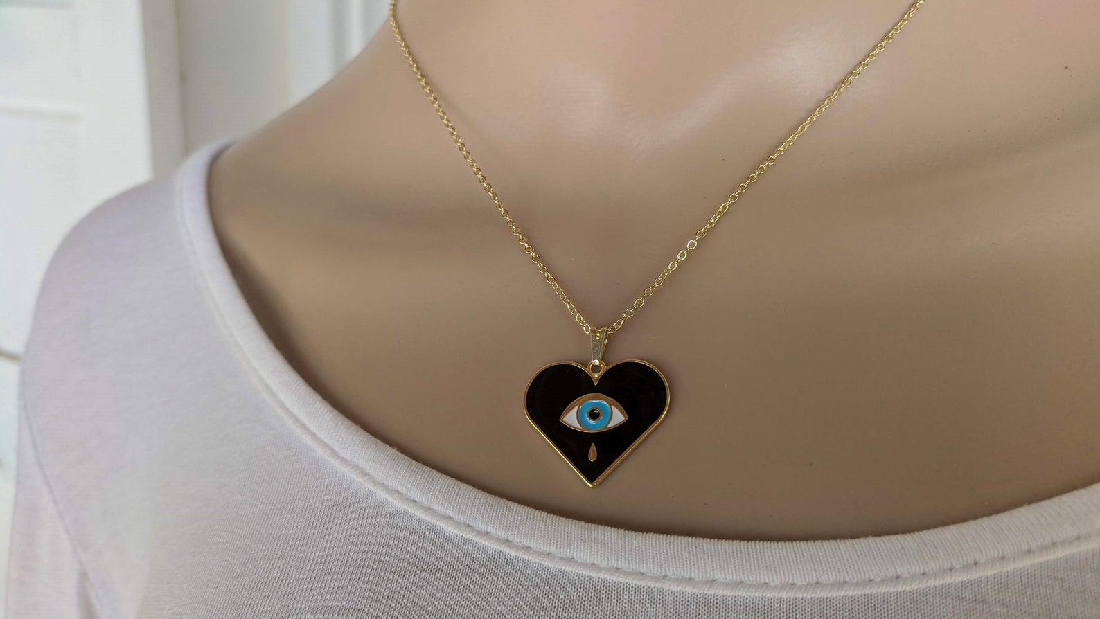 Gold filled evil eye necklace