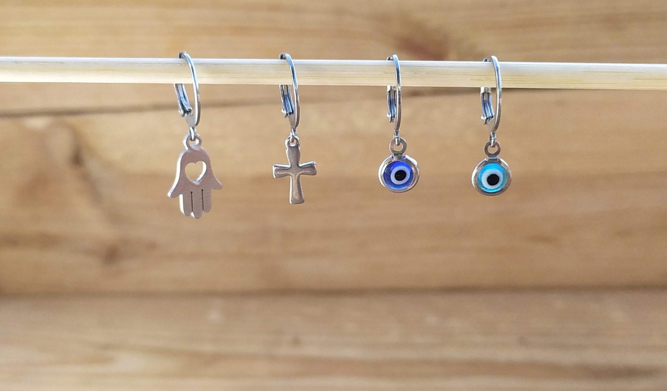 Evil eye single hoop earrings