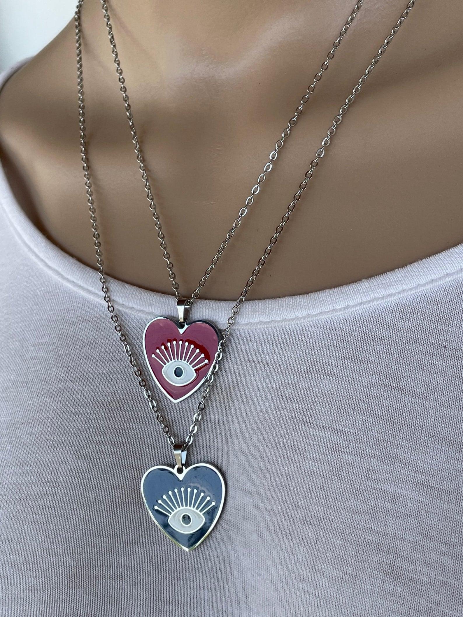 Evil eye heart necklace