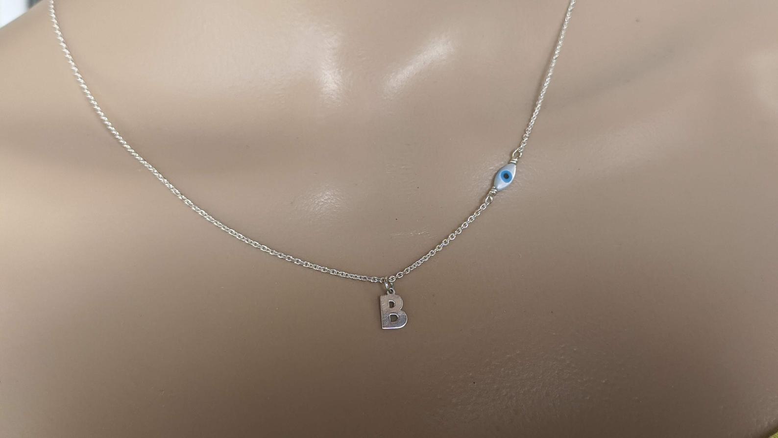 Evil eye monogram necklace