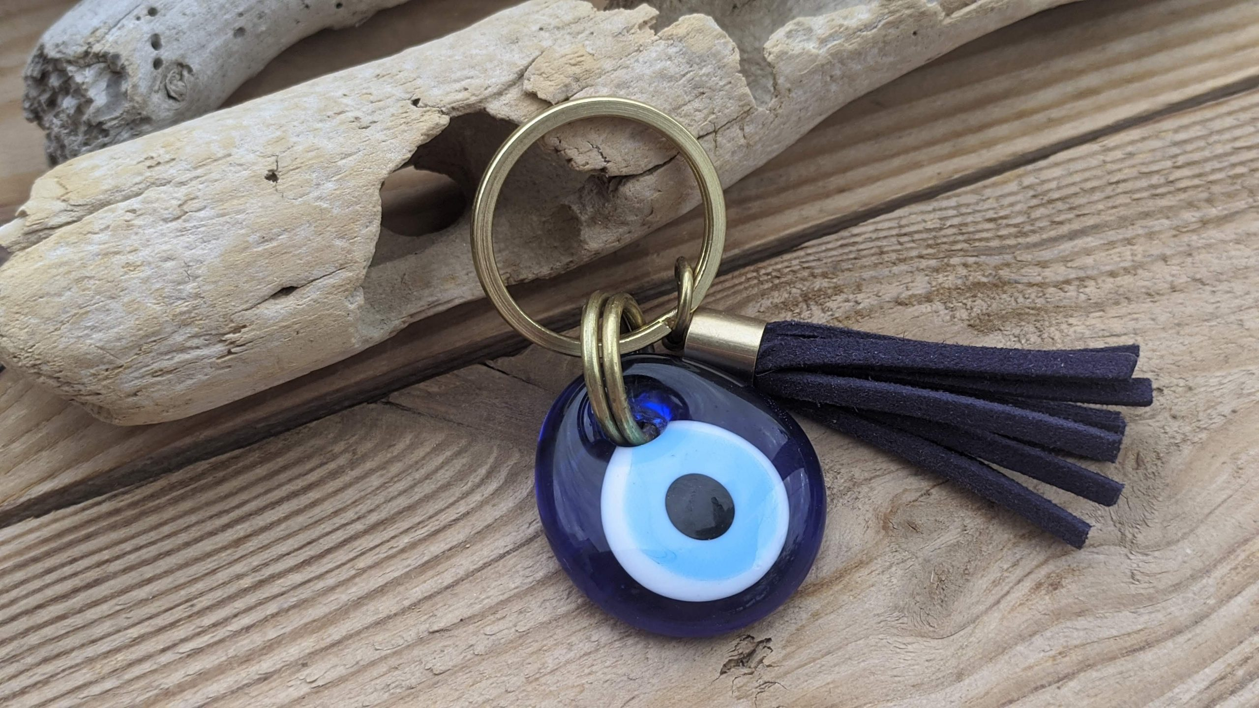 Brass evil eye keychain